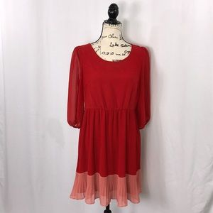 {Forever 21}Red Valentine's Day Pink Pleated dress